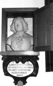 1722. Echbert Klop, hooghdyck heemraet borgemeester en president schepen der heerleykheyt Aelst.